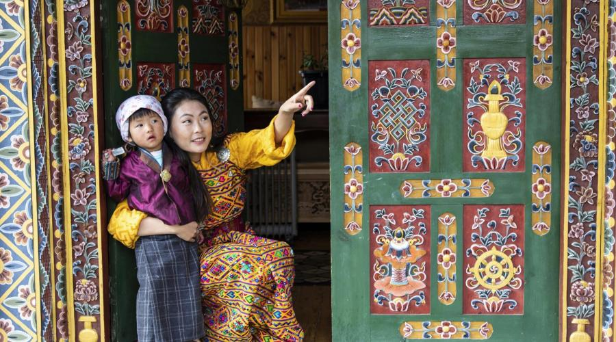 Mutter und Kind in Thimphu